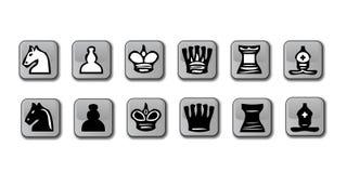 glansowane szachowe ikony Obraz Royalty Free