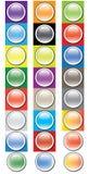 Glansowany round zapina ikona set Obrazy Stock