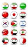 Glansowany zaokrąglony flaga set Azja Zdjęcia Royalty Free