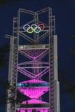 Glanst de Olympische toren van Peking in nachthemel Royalty-vrije Stock Fotografie