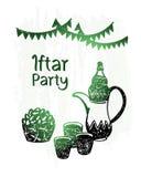 Glanst hand getrokken ramadan kareem, iftar groene partij, Stock Afbeelding