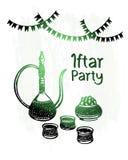 Glanst hand getrokken ramadan kareem, iftar groene partij, Stock Afbeeldingen
