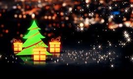 Glanz-Stadt Bokeh-Hintergrund des Weihnachtsbaum-Geschenk-3D Lizenzfreie Stockfotografie