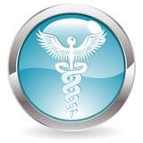 Glanz-Taste mit medizinischem Zeichen Lizenzfreie Stockfotografie