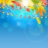Glanzend Autumn Natural Leaves Background Vector illustratie Royalty-vrije Stock Fotografie