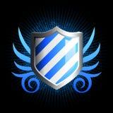 Glanzend blauw schildembleem Stock Afbeelding
