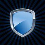 Glanzend blauw schildembleem Royalty-vrije Stock Afbeeldingen