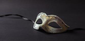 Glanzend Carnaval-masker op zwarte achtergrond, banner royalty-vrije stock fotografie