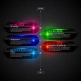 Glanzend chronologiemalplaatje met gloeiende elementen Stock Foto