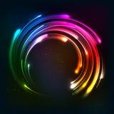 Glanzend de cirkelkader van regenboogneonlichten Stock Afbeeldingen