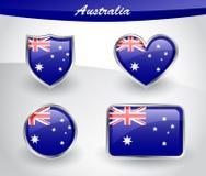 Glanzend die de vlagpictogram van Australië met schild, hart, cirkel, rectum wordt geplaatst Stock Foto's