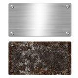 Glanzend geborsteld metaalaluminium of staaluithangbord Roestige staalplaat Textuur en achtergrond van opgepoetst glanzend en roe stock foto