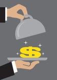 Glanzend Geld in Voedseldienblad Stock Fotografie
