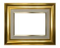 Glanzend Gouden die kader op witte achtergrond wordt geïsoleerd Stock Afbeeldingen