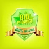 Glanzend groen schild - BIOPRODUCT Stock Afbeeldingen