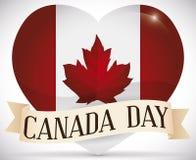Glanzend Hart met Canadese Vlag en Lint die de Dag van Canada, Vectorillustratie vieren royalty-vrije illustratie