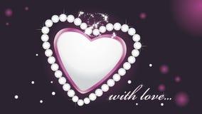 Glanzend hart met diamanten op de donkere achtergrond Stock Foto