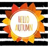 Glanzend Hello Autumn Natural Leaves Background Vector illustratie Stock Foto