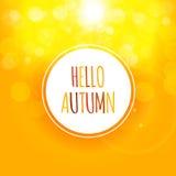 Glanzend Hello Autumn Natural Leaves Background Vector illustratie Royalty-vrije Stock Afbeeldingen