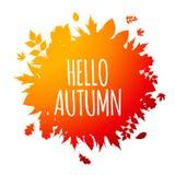 Glanzend Hello Autumn Natural Leaves Background Vector illustratie Stock Foto's