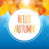 Glanzend Hello Autumn Natural Leaves Background Vector illustratie Royalty-vrije Stock Afbeelding