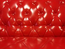 Glanzend Rood Leer Sofa Background Stock Fotografie