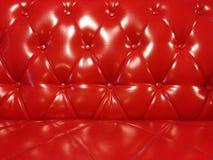 Glanzend Rood Leer Sofa Background Stock Fotografie