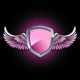 Glanzend roze schildembleem Royalty-vrije Stock Afbeelding