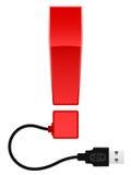 Glanzend uitroepteken met kabel USB Stock Afbeeldingen