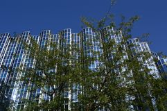 Glanzend venster in de financiële bedrijfsbouw royalty-vrije stock foto's