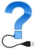 Glanzend vraagteken met kabel USB Royalty-vrije Stock Foto's