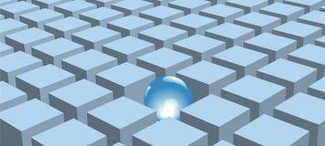 Glanzende abstracte bal die in rijen van blauwe kubussen wordt geplaatst Royalty-vrije Stock Afbeelding