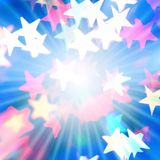 Glanzende achtergrond met sterren en stralen stock afbeelding