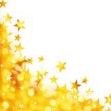 Glanzende achtergrond van gouden lichten met sterren Stock Afbeeldingen