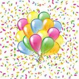 Glanzende ballons op een kleurrijke confettienachtergrond stock illustratie