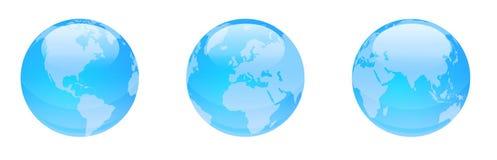 Glanzende blauwe bollen Stock Afbeelding