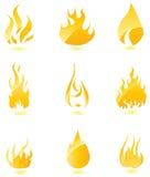 Glanzende brandpictogrammen. Grote reeks. Stock Foto