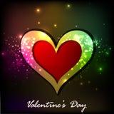 Glanzende de groetkaart van de Dag van Valentijnskaarten Stock Foto's