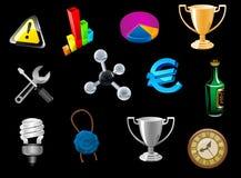 Glanzende die pictogrammen voor Webontwerp worden geplaatst Royalty-vrije Stock Afbeeldingen