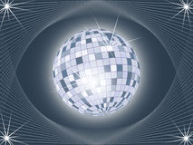 Glanzende discobal op abstracte achtergrond Stock Afbeelding