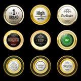 Glanzende en gouden uitstekende etiketten Gekleurde die stenen in goud worden geplaatst bro Stock Foto's
