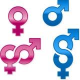 Glanzende geslachtssymbolen Royalty-vrije Stock Afbeeldingen