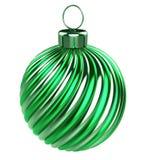 Glanzende gestreepte uitstekende modieus van de groene Kerstmisbal vector illustratie