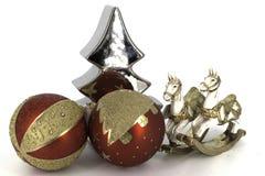 Glanzende glaubes van de Kerstmisdecoratie Royalty-vrije Stock Foto's