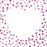 Glanzende glitteryachtergrond met chaotische punten van verschillende grootte en het grote witte hart Royalty-vrije Stock Fotografie