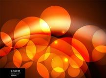 Glanzende gloeiende glascirkels, modern futuristisch malplaatje als achtergrond Royalty-vrije Stock Afbeelding