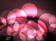 Glanzende gloeiende glascirkels, modern futuristisch malplaatje als achtergrond Stock Afbeelding