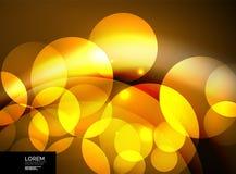 Glanzende gloeiende glascirkels, modern futuristisch malplaatje als achtergrond Royalty-vrije Stock Foto