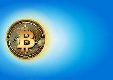 Glanzende gouden bitcoin Royalty-vrije Stock Afbeelding