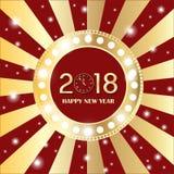 Glanzende gouden cirkel uitstekende banner met lichten op retro rode en gouden achtergrond Nieuw jaar 2018 concept royalty-vrije illustratie